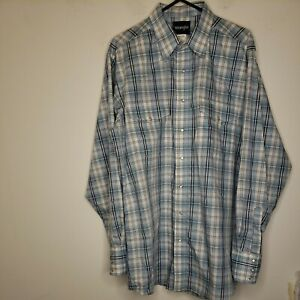 Wrangler Men's Button Front Pearl Snap Shirt Extra Large Tall XLT Blue White