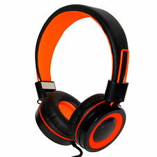 RockPapa DJ Headphones Foldable Adjustable 3.5mm for Kids Childs Adults Orange