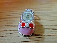 Sterling Silver 3D Small 17x10mm Cute Baby Girl Bootie Shoe Pink Enamel Charm