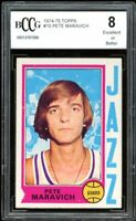 1974-75 Topps #10 Pete Maravich Card BGS BCCG 8 Excellent+