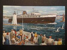 Vintage Postcard Uss Badger Wisconsin Michigan Lake Crossing unposted