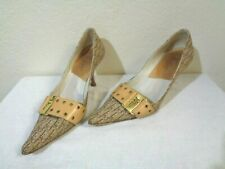 DIOR BROWN LOGO FABRIC & LEATHER GROMMET STRAP LOGO BUCKLE POINTY TOE PUMPS EU36