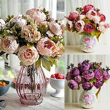 BL_ 1 Bouquet 8 Heads Artificial Peony Wedding Faux Silk Simulation Flowers Nove