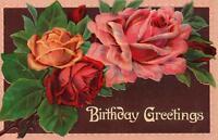 1910 VINTAGE RED ORANGE PINK ROSES BIRTHDAY POSTCARD made in GERMANY