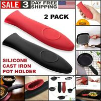 2Pcs Silicone Pot Holder Cast Iron Hot Skillet Handle Cover Potholder Pan Sleeve