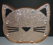 Justice Girls Room Kitty Cat Face Glitter Sparkle Light Up Wall Decor New!