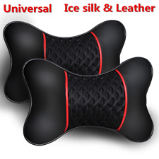 2 Pcs Ice Silk+Leather Car Autos Headrest Neck Pillow Cervical Cushion Black+Red