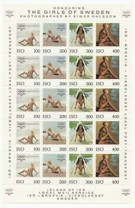 Iso Island Local Post Sheetlet, Girls Of Sweden, Nude, Perf/Imperf, Olympic 1972