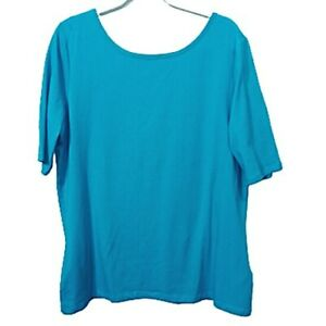 Long Tall Sally Scoop Neck/Back Elbow Length Sleeve Top Size XL