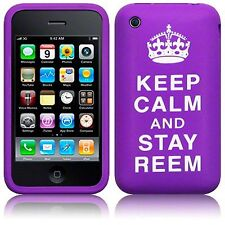 Para iPhone 3/3GS Keep Calm & Stay REEM Piel Funda De Goma Flexible-Púrpura