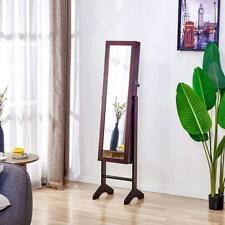 Modern Free Standing Jewellery Storage Cabinet with Mirror Organiser Box Brown