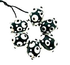 6 Lampwork Glass Handmade Opaque Black White Brown Bumpy Sputnick Beads