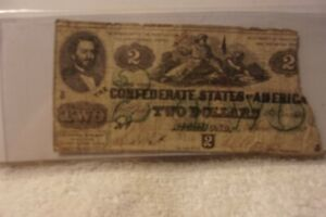 Authentic Confederate States America $2 Dollars Note Currency 1862 T 43 Rarity 6