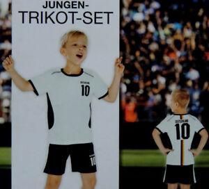 Jungen Fußball Trikot Deutschland Sport Set 2-teilig Sporthose Shirt WM EM NEU