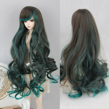 New 1/6 BJD Doll Wig SD DZ DOD LUTS Long Wavy Brown Green  Ombre Side Bangs Hair