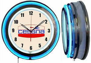 "Cessna Aircraft Early Logo 19"" Blue Neon Clock Man Cave Garage Airplane Hanger"