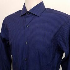 Ben Sherman Soho Dress Shirt Men's 15 32/33 Blue Striped Cotton Long Sleeve