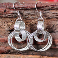 Women 925 Silver Plated Circle Drop Dangle Earring Wedding Jewelry Retro Gift
