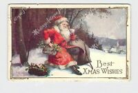 ANTIQUE POSTCARD CHRISTMAS SANTA SACK OF TOYS BASKET OF HOLLY BEST XMAS WISHES