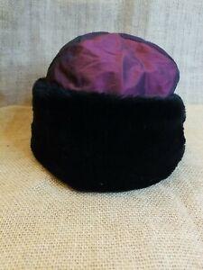 Fera Ski Wear Vintage Faux Fur Trimmed Ski Hat Shimmery Burgandy/Black One Size