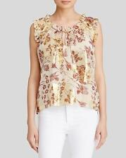 Diane von Furstenberg Raisin Calico Metallic DVF Rebekah Silk SL Top $268 NWT 10