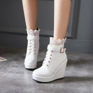 Women Lace Decor Lace Up Velvet Lined Buckle Strap Wedge Party Ankle Boots Shoes