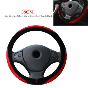 38CM Winter Car SUV Steering Wheel Warm Cover Soft Touch Plush Grip Universal