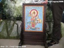 "31""Chinese rosewood handwork inlay Copper cloisonne Bodhisattva Kwan-Yin screen"