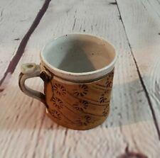 Art Pottery Mug Embossed Flower Rustic Brown White Glaze