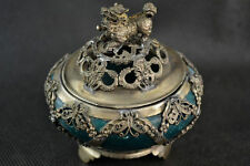 Exquisite chinese old Tibetan silver carving kylin inlay jade Incense burner