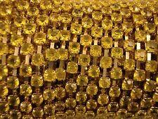 Acrylic 4mm Rhinestone Chain 1m Yellow/Gold Costume Sew Dance FREE POSTAGE
