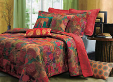 Beautiful Exotic Antique Spice Floral Blue Bohemian Red Quilt Set - Twin Size