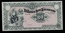 ECUADOR BANCO SUR  AMERICANO 20 SUCRES 1920 PICK # S253 UNC.