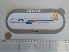 STICKER AIRBUS AUTOCOLLANT A321 NOVAIR AIRLINES AUFKLEBER INDUSTRIES SUEDE NEUF