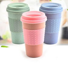 Wheat Straw Mug with Silicone Lid Portable Coffee Tea Cup for Home Office Travel