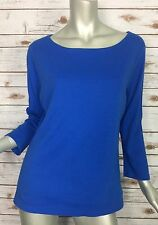 Brooks Brothers Shirt Top 3A009 Womens Size Large Blue Supima Cotton 3/4 Sleeve