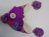GIRLS SIZE M/L SO BRAND CUTE MULTI-COLOR KNIT HAT AND GLOVES SET NEW NWT #4570