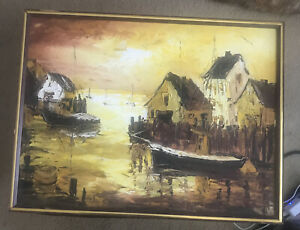 VAN GORES FISHERMAN MARKET DOCK ORIGINAL OIL ON CANVAS SEASCAPE PAINTING