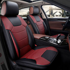5-Seats Car Seat Cover Front+Rear Microfiber Leather Cushion w/Pillow All Season