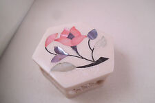 Lovely Made in India for Sara's Imports Inc Trinket Box Pink Flower Inlay