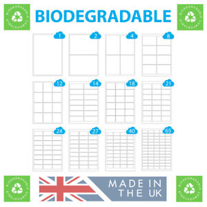 500 A4 Sheets Biodegradable Labels, Compostable & Eco Friendly Printer Stickers