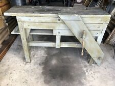 Vintage Hardwood Timber Work Bench with Vice