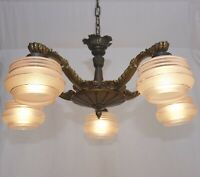 French Art Deco Kronleuchter Deckenlampe Art Nouveau Chandelier Glasschirm 1930