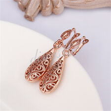 18k Rose Gold Filled See-Through Filigree TearDrop Shaped DANGLE Earrings H026