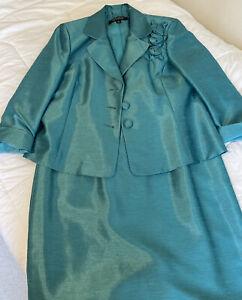 KASPER Womens Aqua Below The Knee Pencil Suit Evening Skirt Suit Plus Size: 12