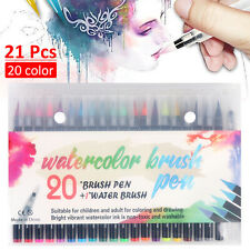 20 Colors Art Oil Watercolor Drawing Painting Brush Sketch Manga Pen Set HOT UK