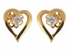 1/5 Cts Round Brilliant Cut Diamond Heart Stud Earrings In Solid 14K Yellow Gold