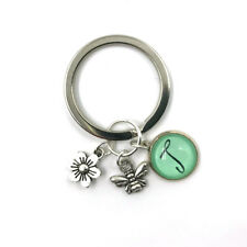 Personalised Bees Gift Charm Keychain, Bee Keeper, Flower, Bees, Bee Gifts
