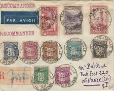 France Andorra 1937 R- cover airmail  to Le Havre  ( 1f75 on cover rare ! )
