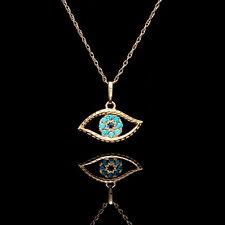 Evil Eye Pendant 0.15tcw Created Topaz Sapphire 14k Yellow Gold Charm